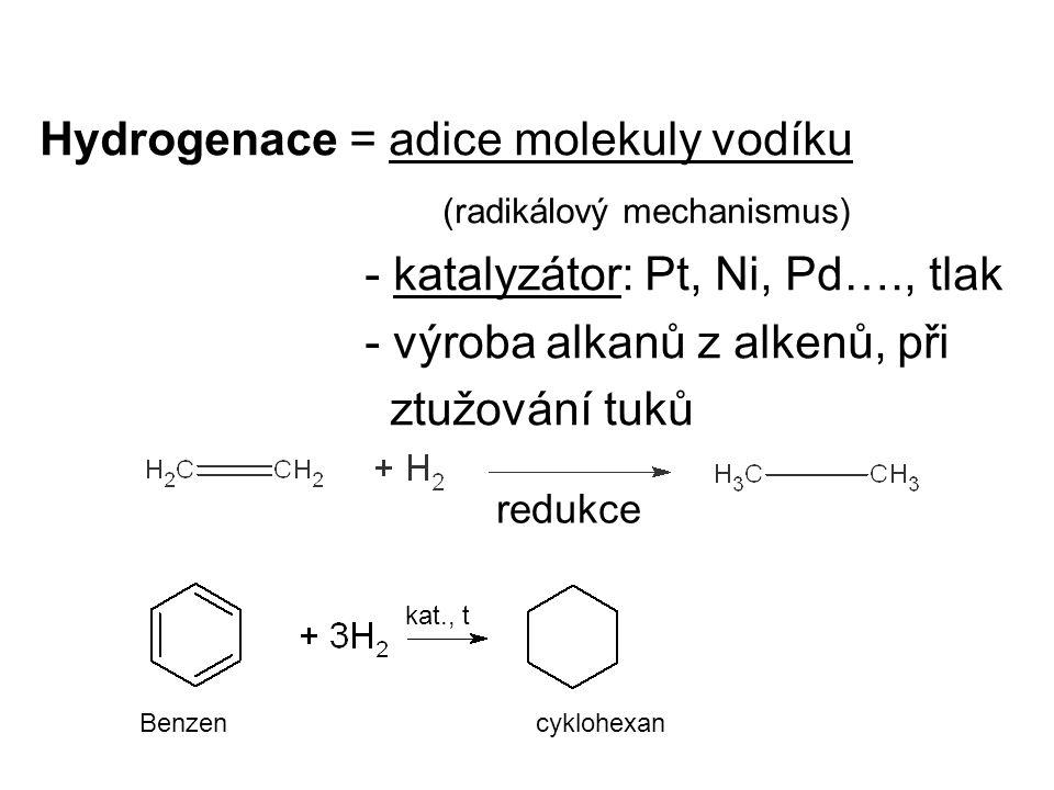 Hydrogenace = adice molekuly vodíku (radikálový mechanismus)