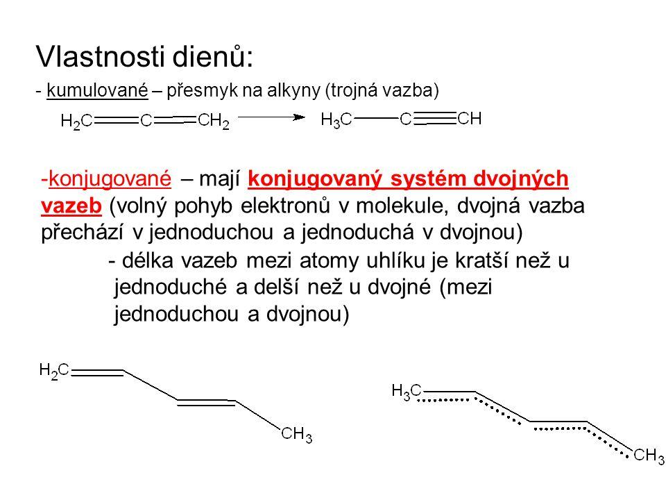 Vlastnosti dienů: - kumulované – přesmyk na alkyny (trojná vazba)