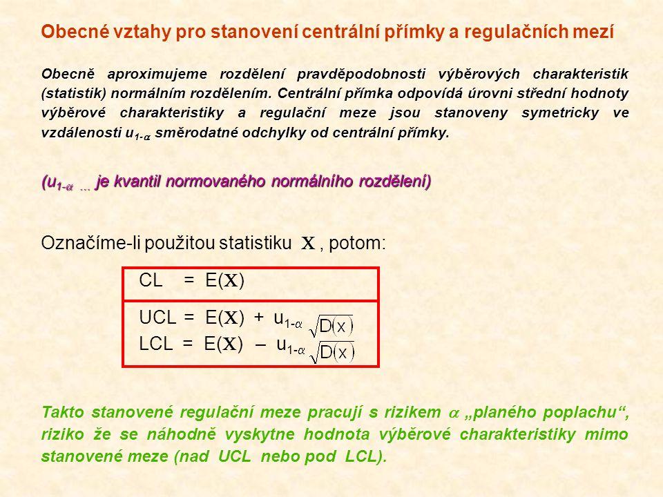 Obecné vztahy pro stanovení centrální přímky a regulačních mezí