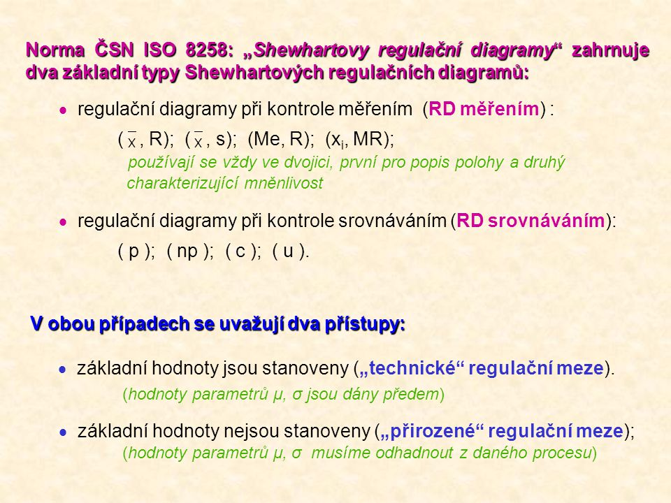 regulační diagramy při kontrole měřením (RD měřením) :
