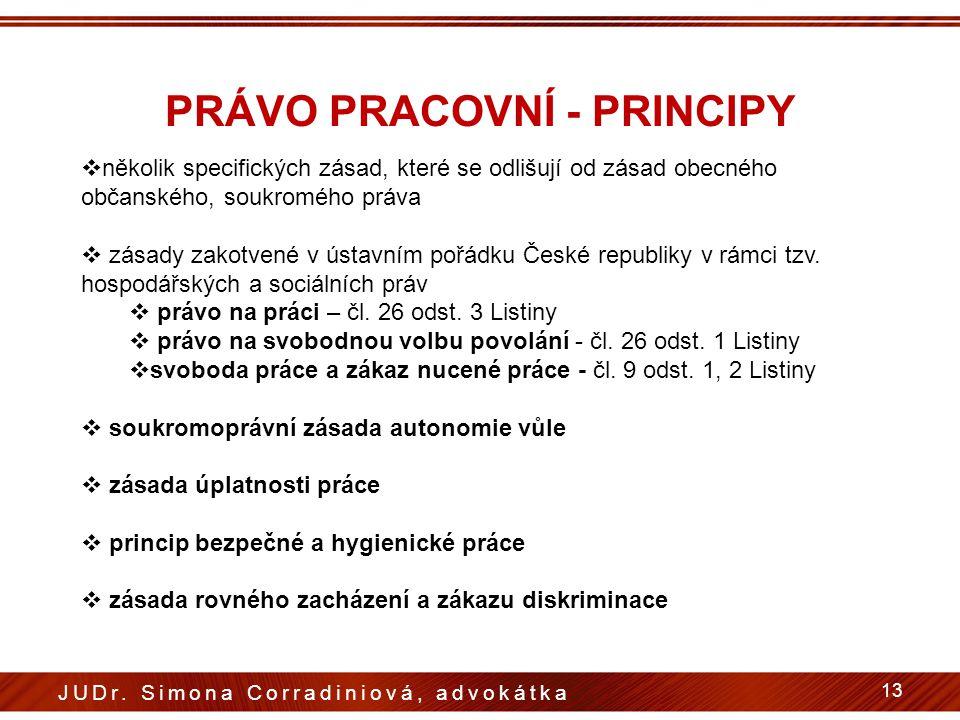 PRÁVO PRACOVNÍ - PRINCIPY