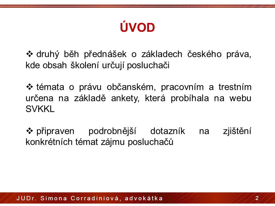 ÚVOD druhý běh přednášek o základech českého práva, kde obsah školení určují posluchači.