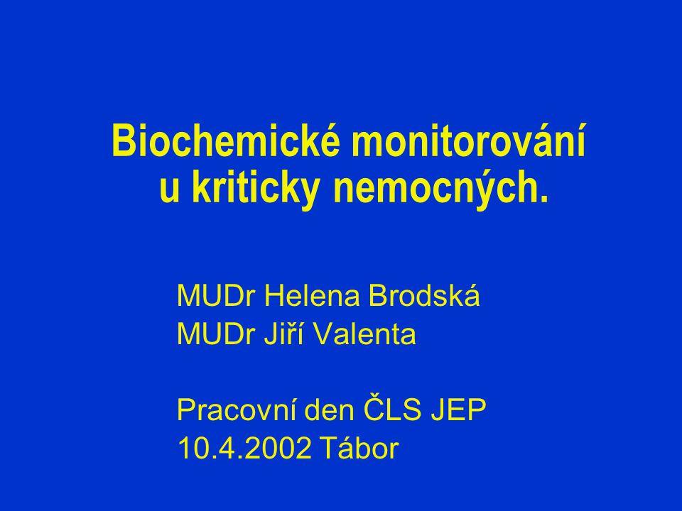 Biochemické monitorování u kriticky nemocných.