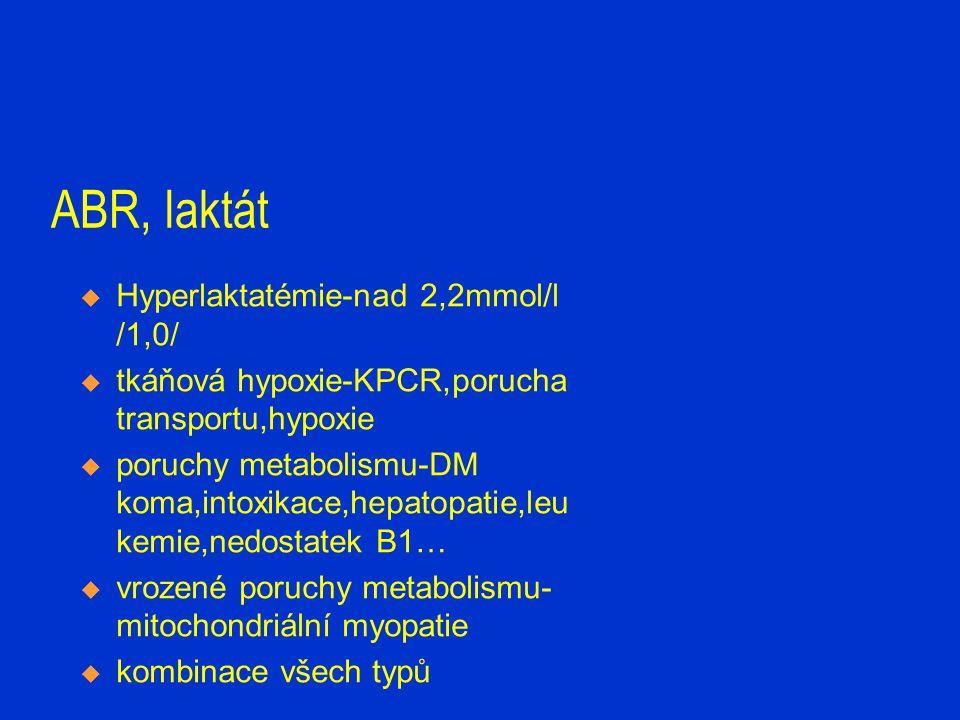 ABR, laktát Hyperlaktatémie-nad 2,2mmol/l /1,0/