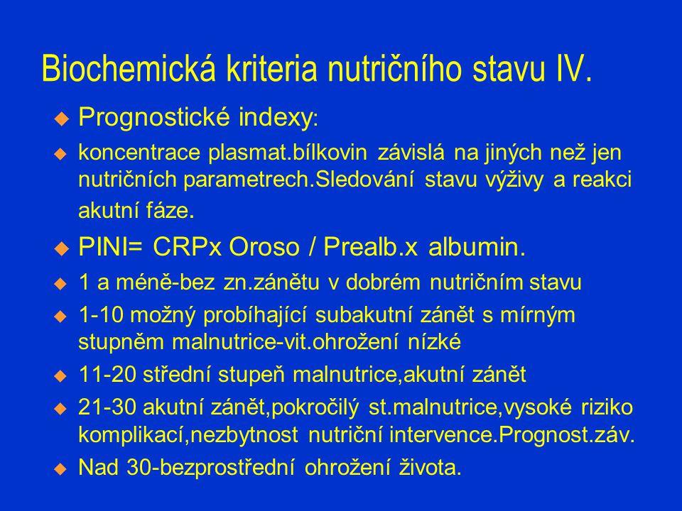 Biochemická kriteria nutričního stavu IV.