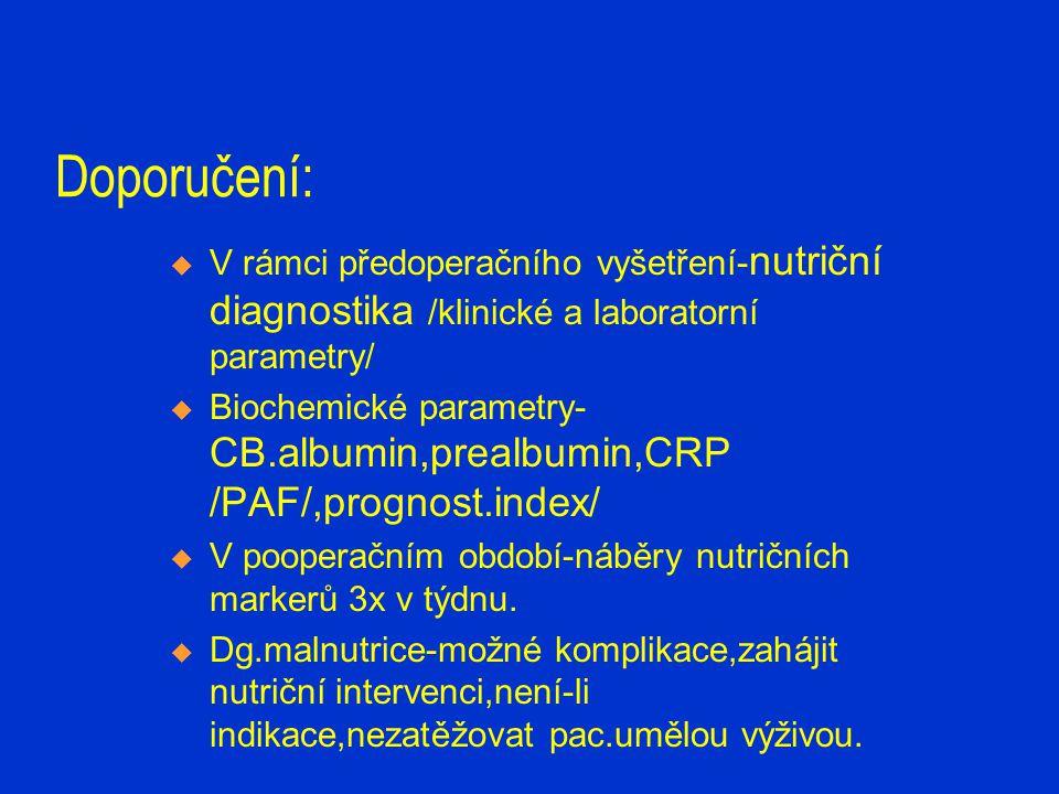 Doporučení: V rámci předoperačního vyšetření-nutriční diagnostika /klinické a laboratorní parametry/