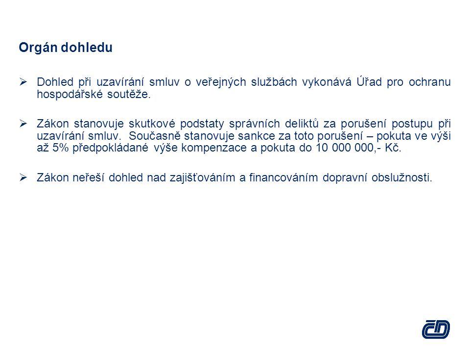 Orgán dohledu Dohled při uzavírání smluv o veřejných službách vykonává Úřad pro ochranu hospodářské soutěže.