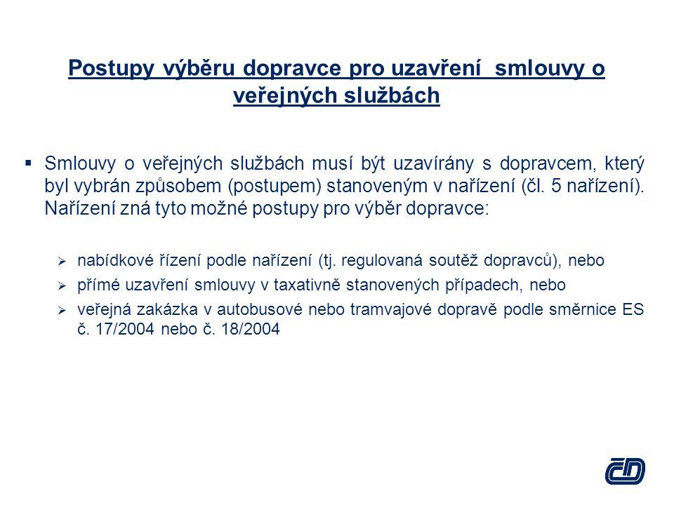 Postupy výběru dopravce pro uzavření smlouvy o veřejných službách