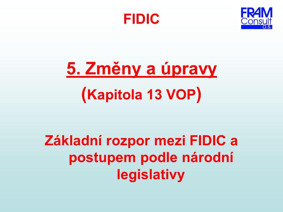 Základní rozpor mezi FIDIC a postupem podle národní legislativy
