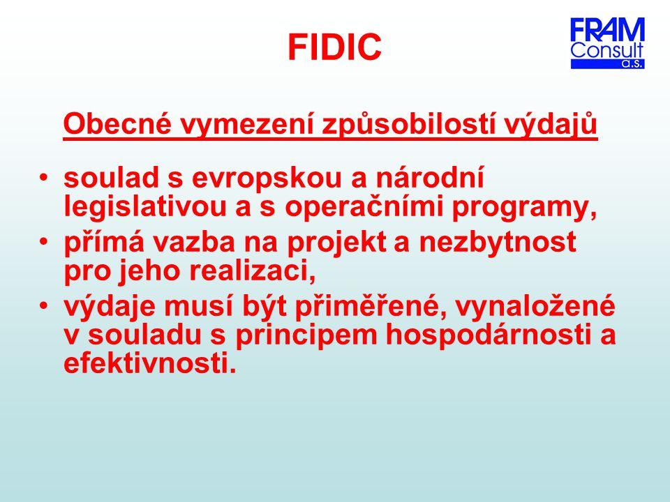 FIDIC Obecné vymezení způsobilostí výdajů