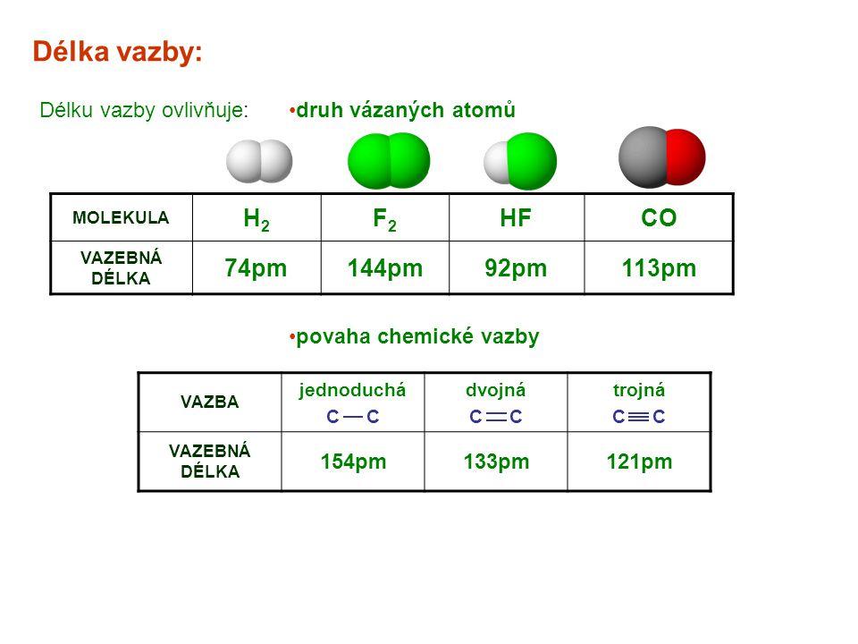 Délka vazby: H2 F2 HF CO 74pm 144pm 92pm 113pm Délku vazby ovlivňuje: