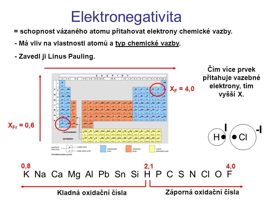 Čím více prvek přitahuje vazebné elektrony, tím vyšší X.