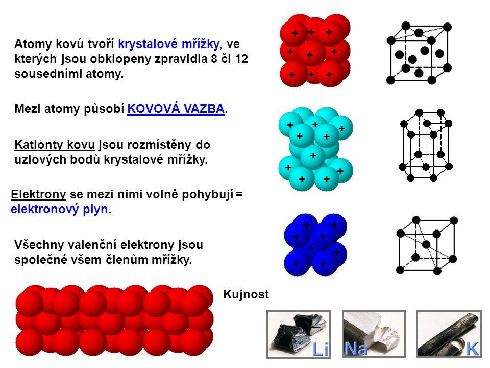 + Atomy kovů tvoří krystalové mřížky, ve kterých jsou obklopeny zpravidla 8 či 12 sousedními atomy.
