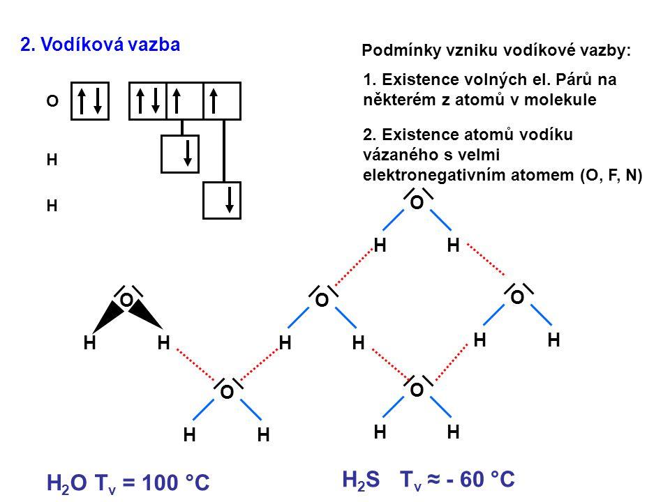 H2S Tv ≈ - 60 °C H2O Tv = 100 °C 2. Vodíková vazba O H O H O H O H O H