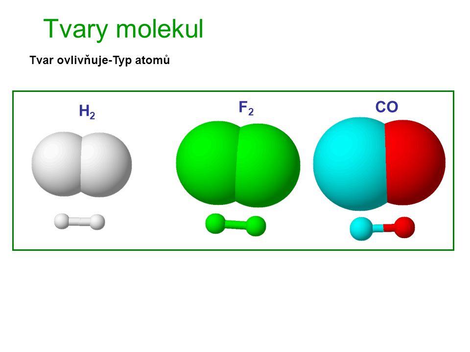 Tvary molekul Tvar ovlivňuje-Typ atomů H2 F2 CO