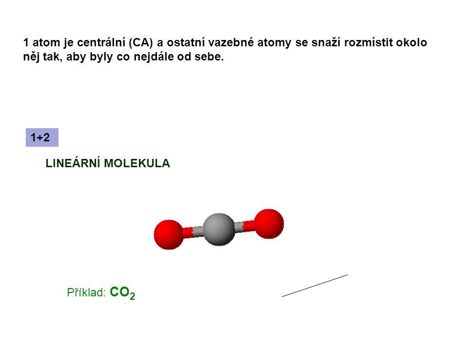 1 atom je centrální (CA) a ostatní vazebné atomy se snaží rozmístit okolo něj tak, aby byly co nejdále od sebe.