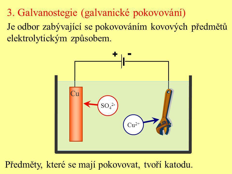 - 3. Galvanostegie (galvanické pokovování)