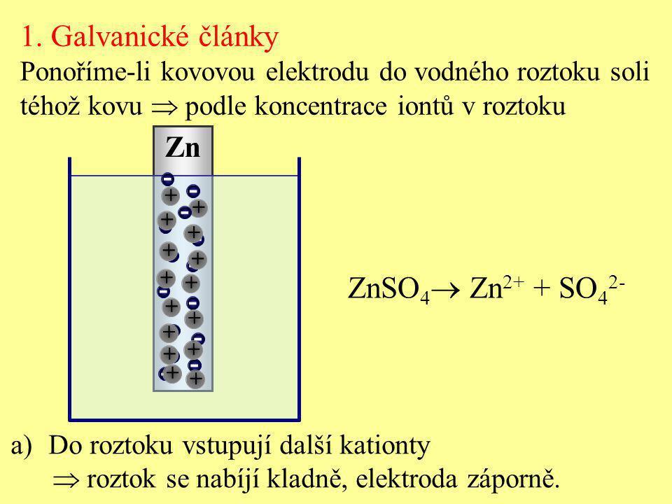 1. Galvanické články ZnSO4 Zn2+ + SO42- Zn