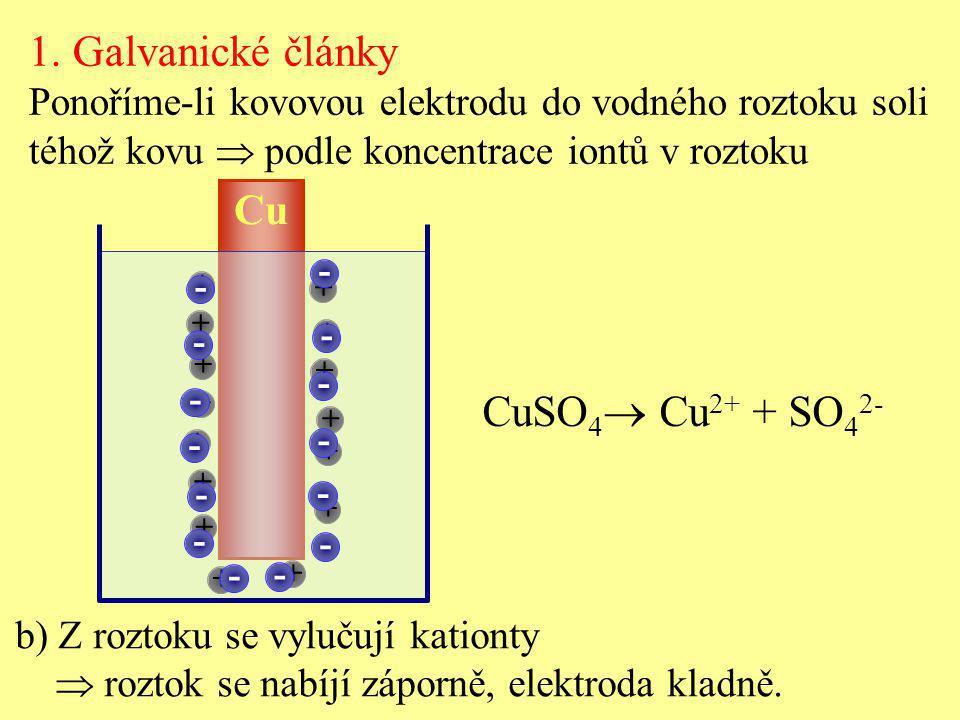 1. Galvanické články CuSO4 Cu2+ + SO42- Cu
