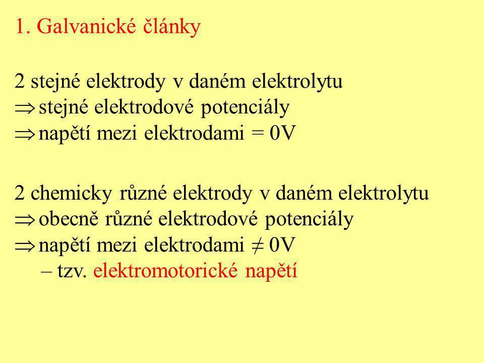 1. Galvanické články 2 stejné elektrody v daném elektrolytu