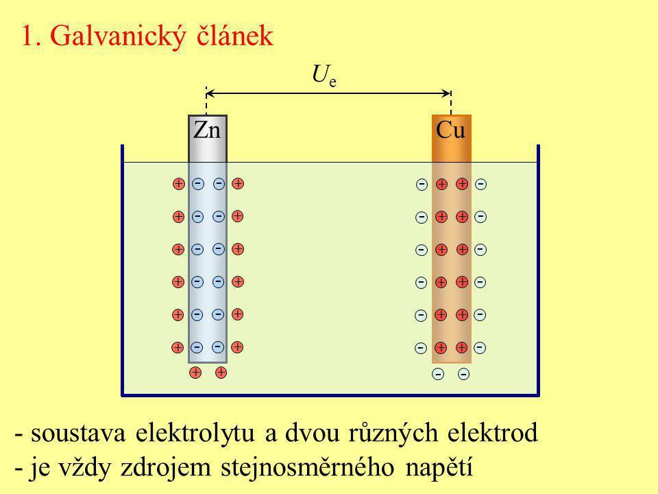 1. Galvanický článek - soustava elektrolytu a dvou různých elektrod