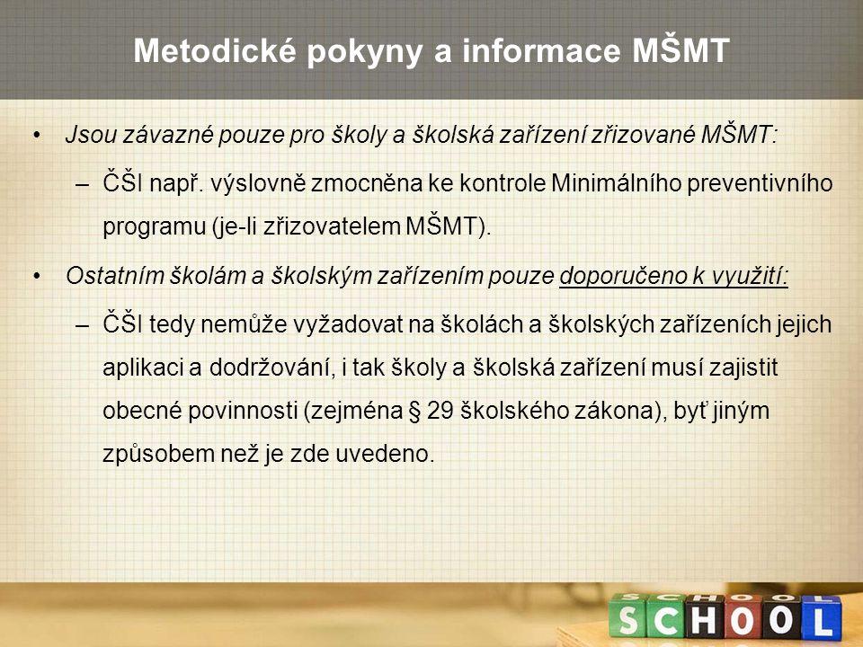 Metodické pokyny a informace MŠMT