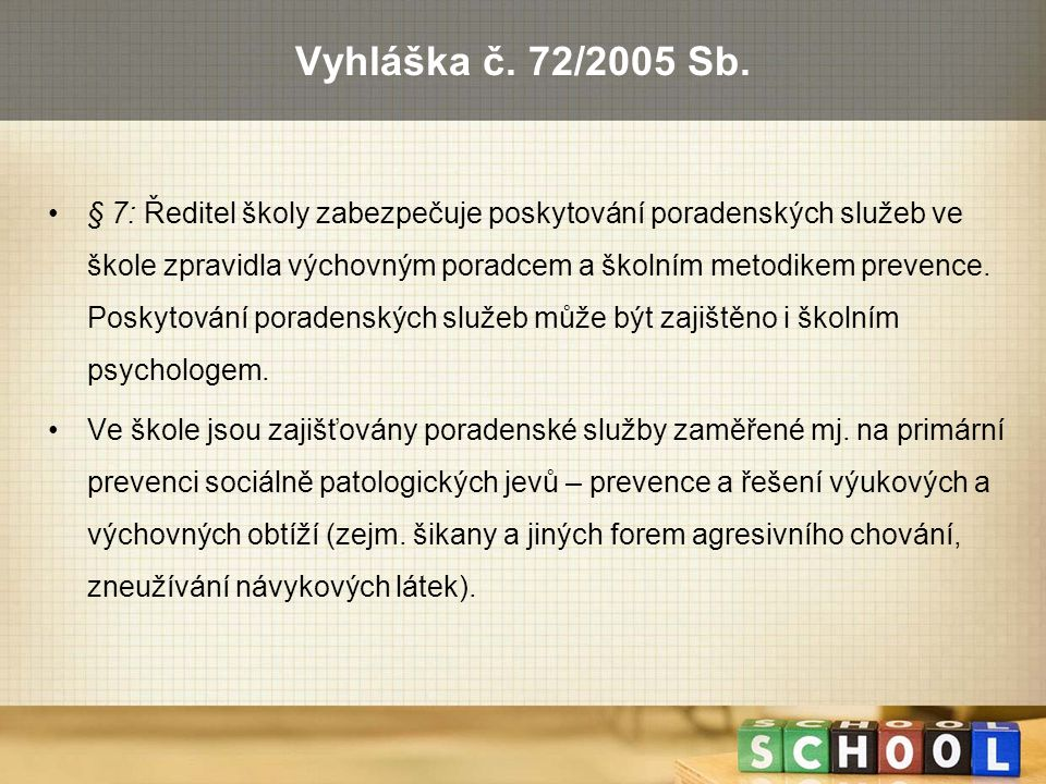 Vyhláška č. 72/2005 Sb.