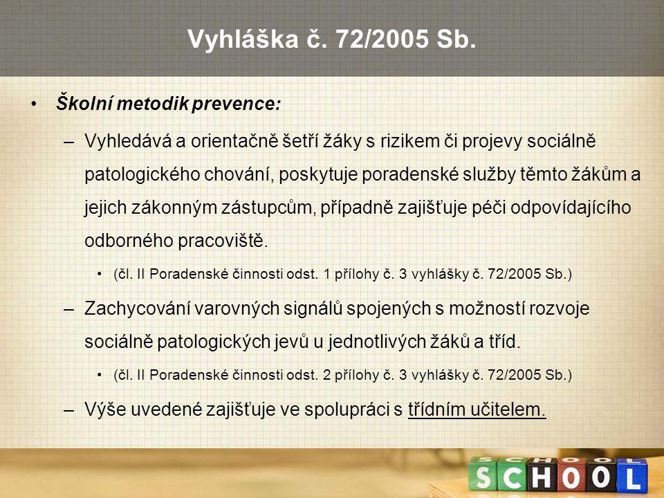 Vyhláška č. 72/2005 Sb. Školní metodik prevence: