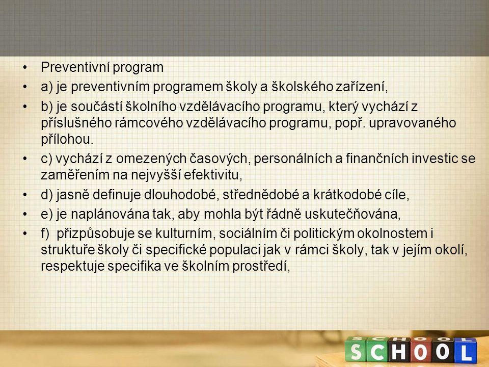 Preventivní program a) je preventivním programem školy a školského zařízení,