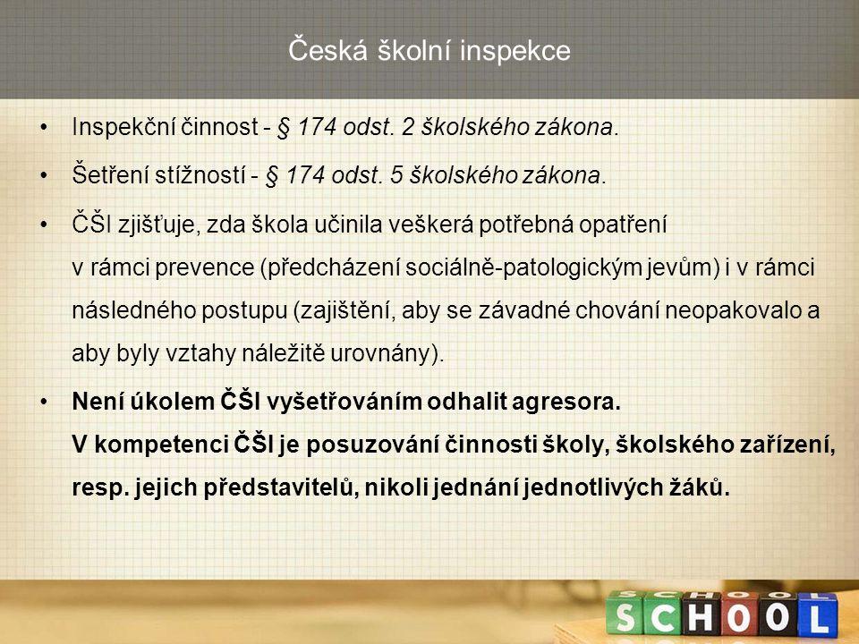 Česká školní inspekce Inspekční činnost - § 174 odst. 2 školského zákona. Šetření stížností - § 174 odst. 5 školského zákona.