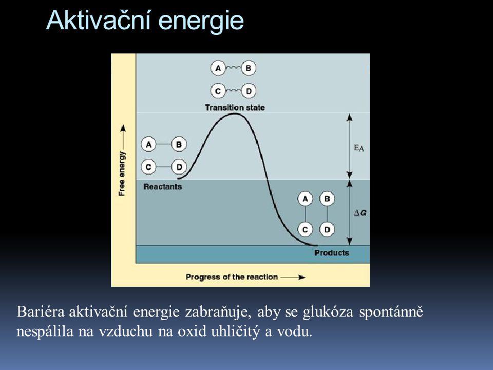 Aktivační energie Bariéra aktivační energie zabraňuje, aby se glukóza spontánně nespálila na vzduchu na oxid uhličitý a vodu.