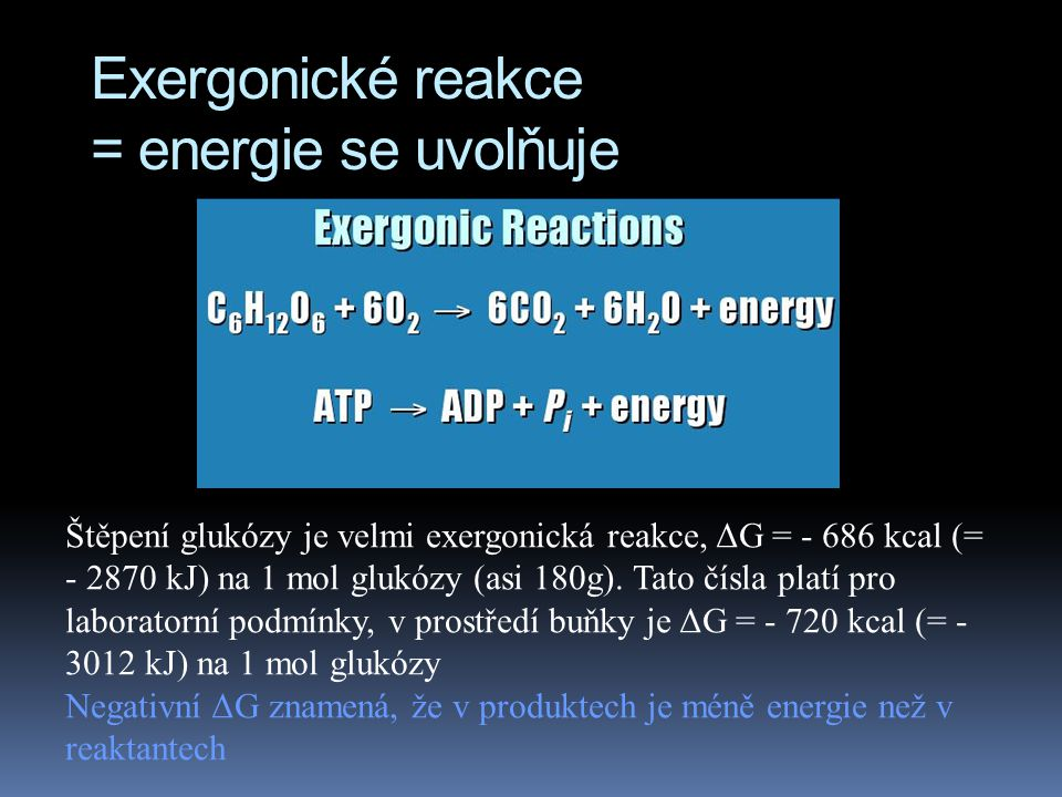 Exergonické reakce = energie se uvolňuje