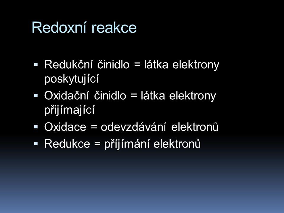 Redoxní reakce Redukční činidlo = látka elektrony poskytující