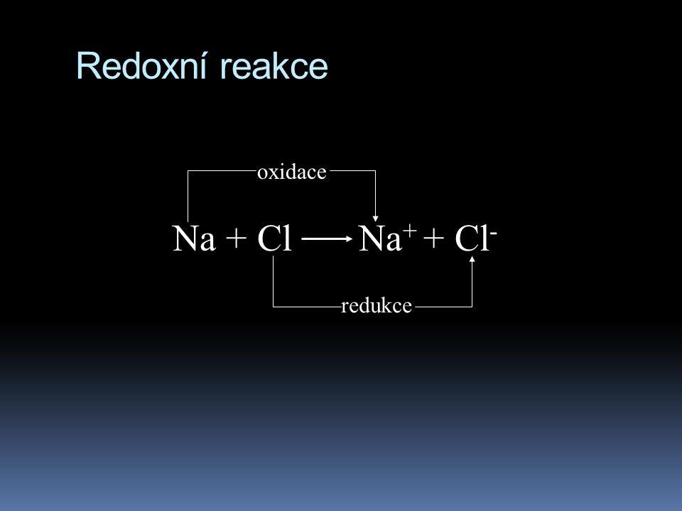 Redoxní reakce oxidace Na + Cl Na+ + Cl- redukce