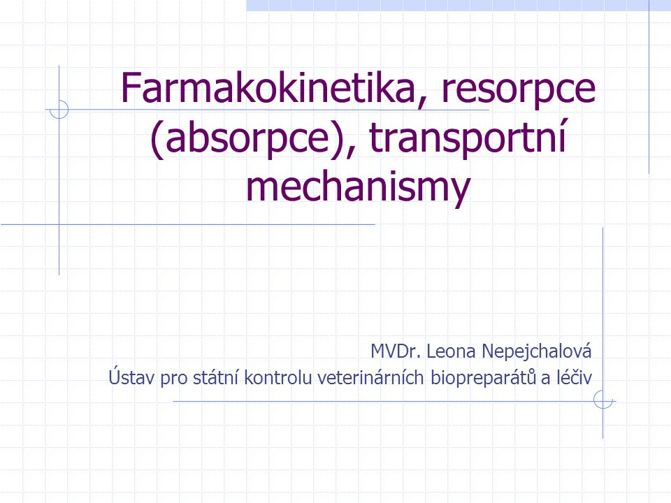 Farmakokinetika, resorpce (absorpce), transportní mechanismy