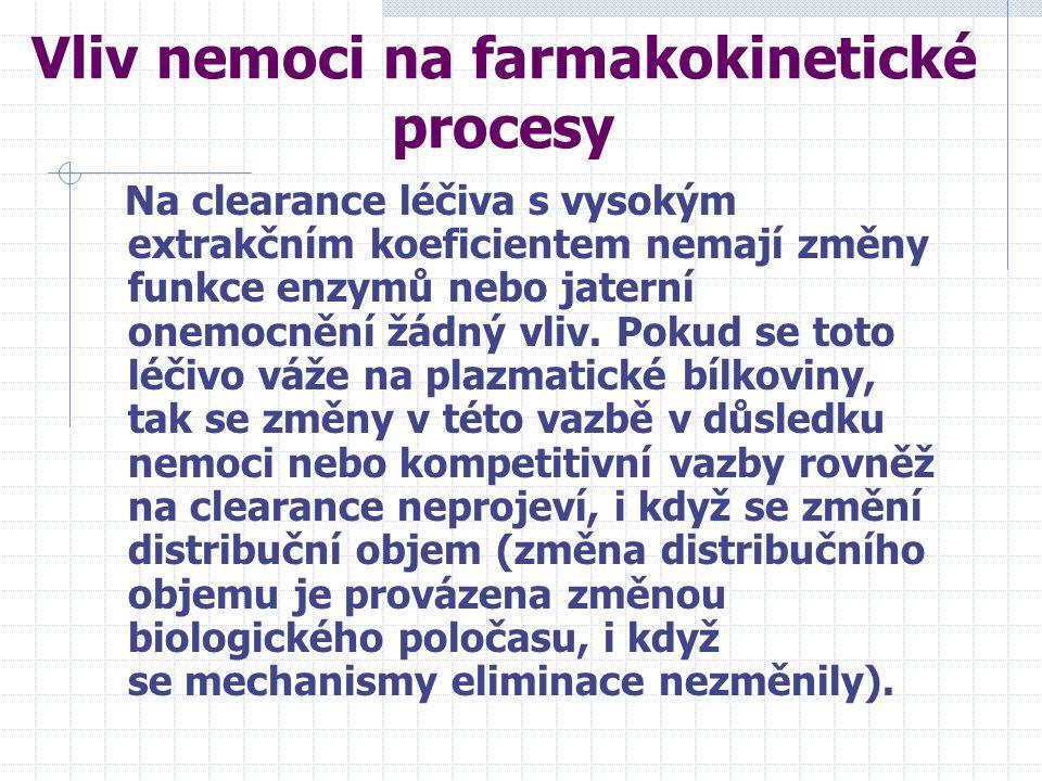 Vliv nemoci na farmakokinetické procesy