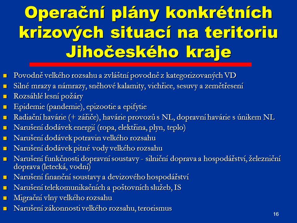 Operační plány konkrétních krizových situací na teritoriu Jihočeského kraje