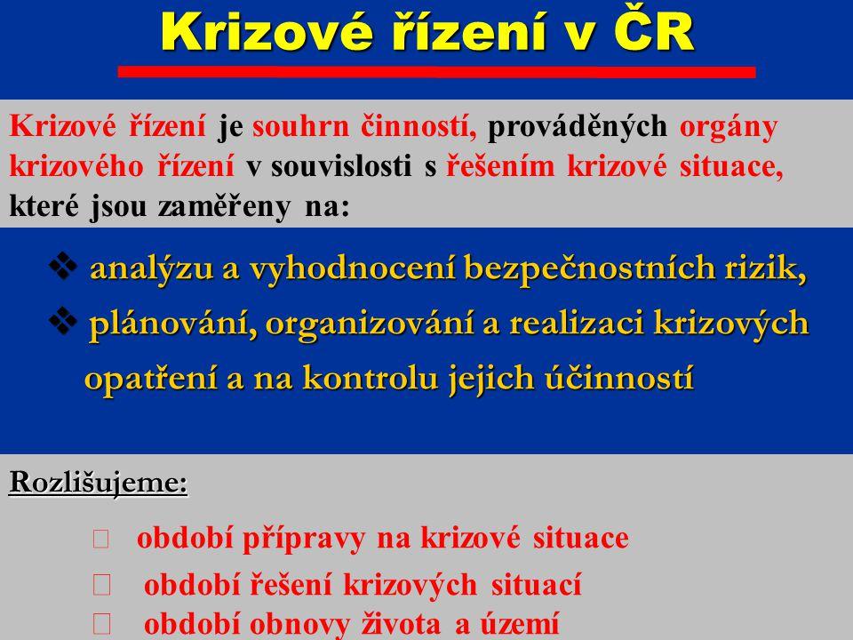Krizové řízení v ČR analýzu a vyhodnocení bezpečnostních rizik,
