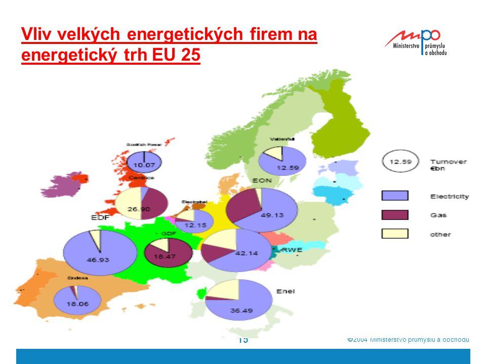 Vliv velkých energetických firem na energetický trh EU 25