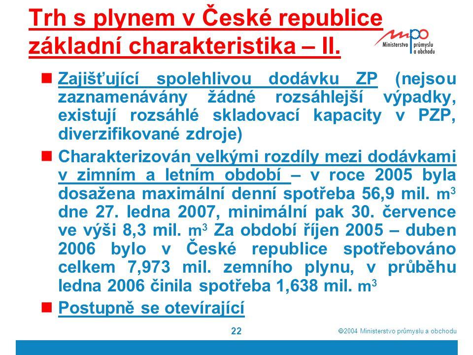 Trh s plynem v České republice základní charakteristika – II.
