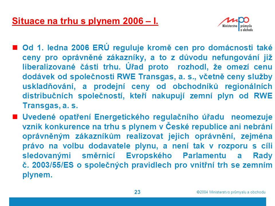 Situace na trhu s plynem 2006 – I.