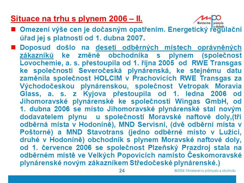 Situace na trhu s plynem 2006 – II.