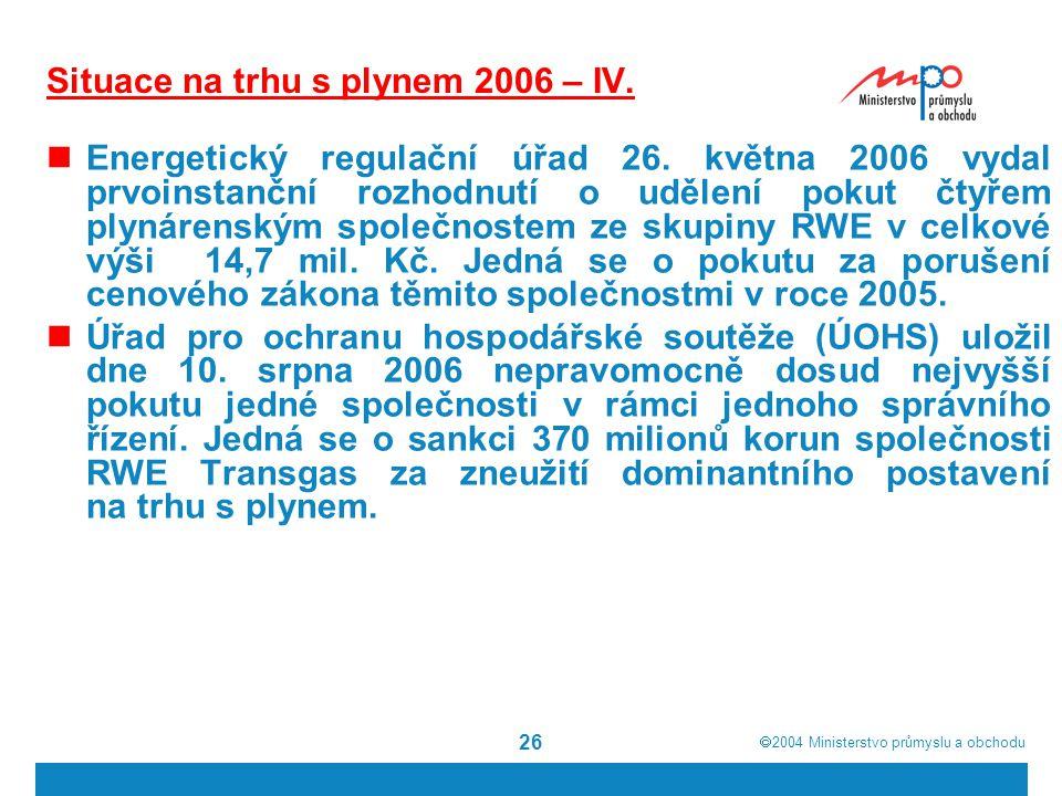 Situace na trhu s plynem 2006 – IV.
