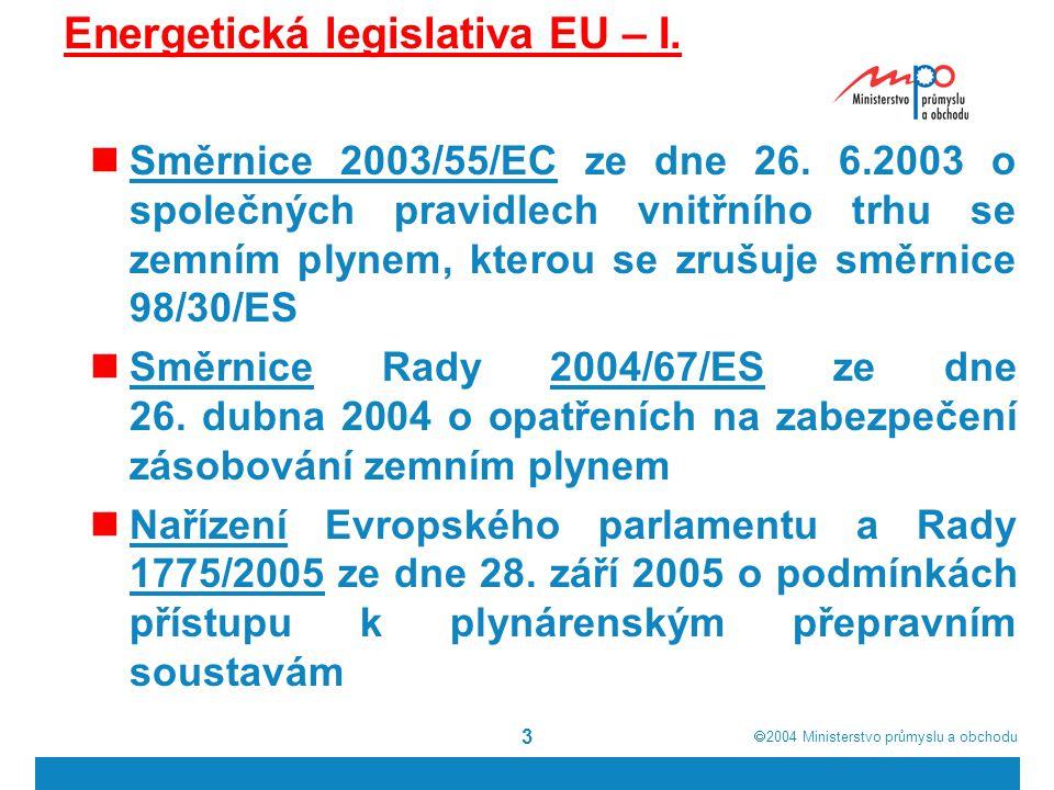 Energetická legislativa EU – I.