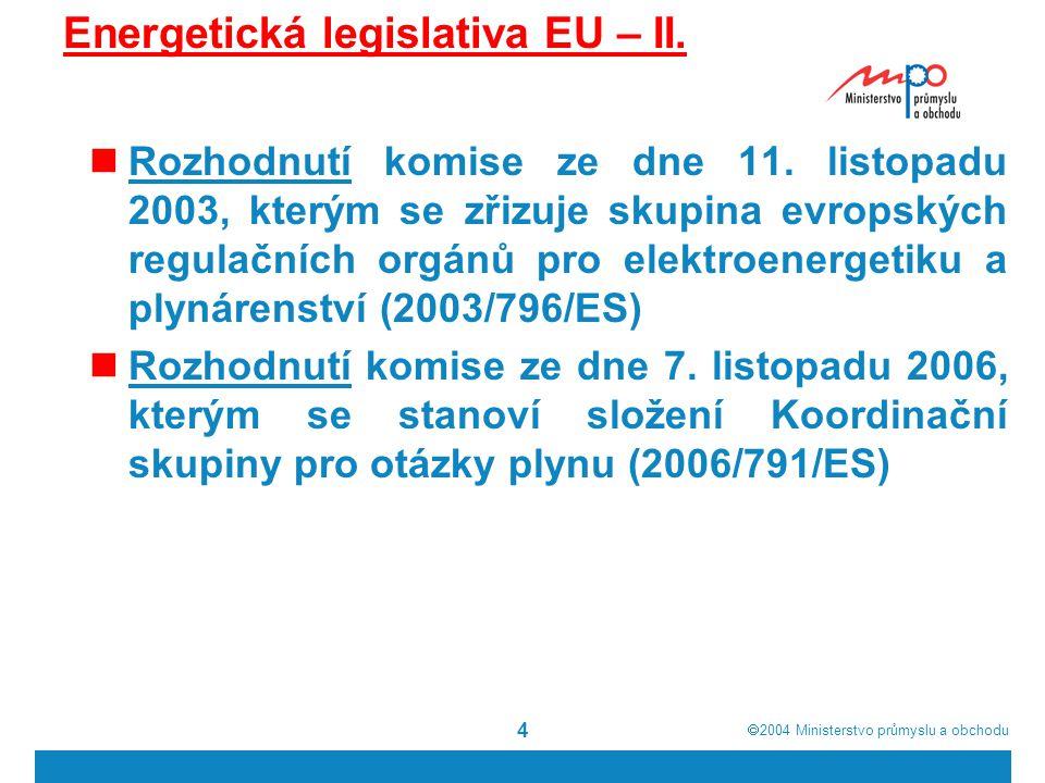 Energetická legislativa EU – II.