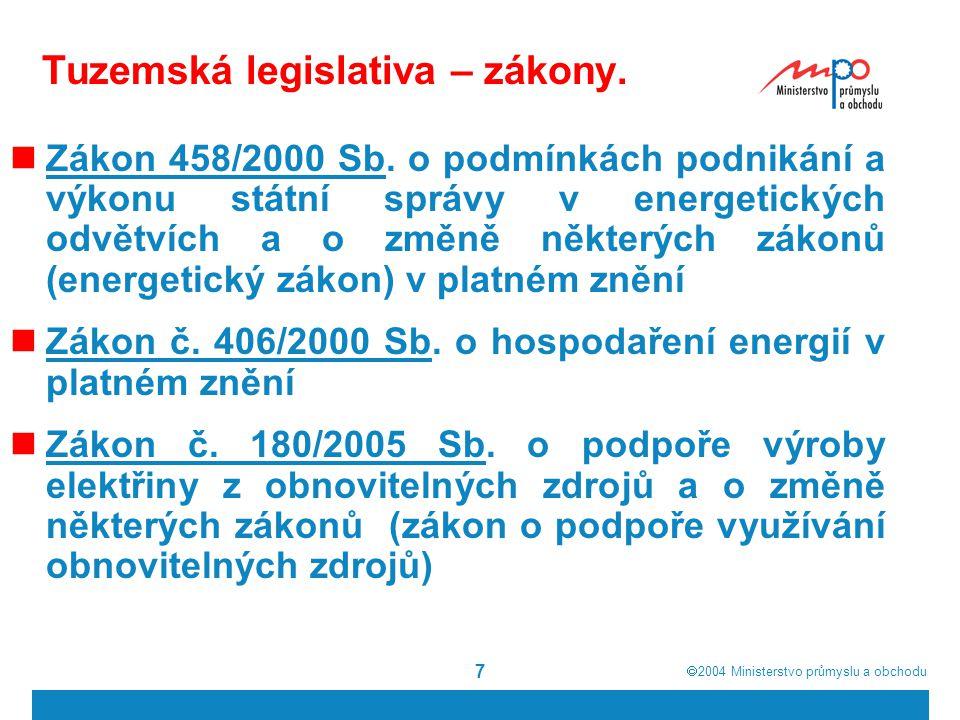 Tuzemská legislativa – zákony.