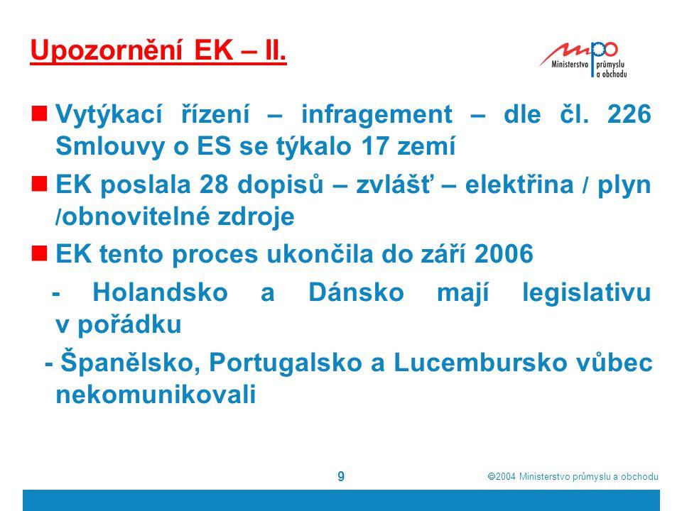 Upozornění EK – II. Vytýkací řízení – infragement – dle čl. 226 Smlouvy o ES se týkalo 17 zemí.