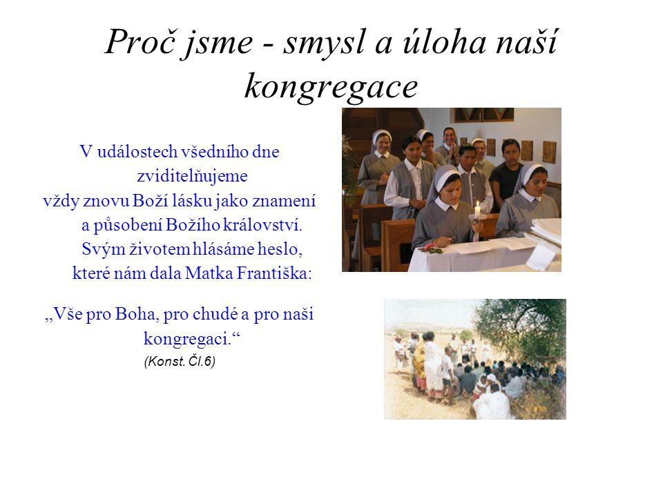Proč jsme - smysl a úloha naší kongregace