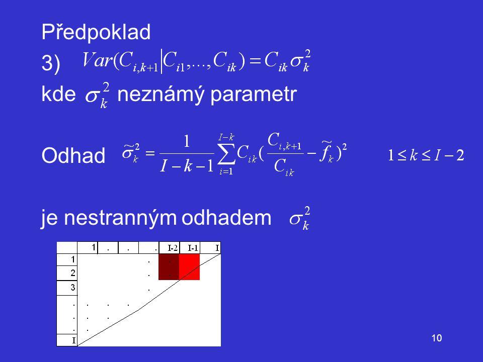 Předpoklad 3) kde neznámý parametr Odhad je nestranným odhadem