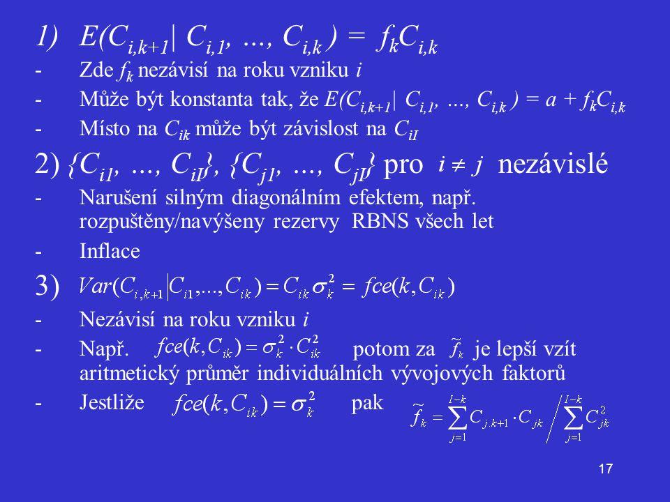 E(Ci,k+1| Ci,1, …, Ci,k ) = fkCi,k